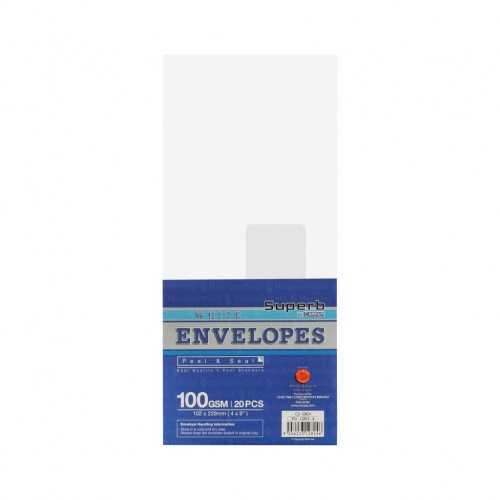 """Campap 12824 White Envelope with Window (4"""" x 9"""") (20pcs)"""