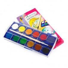 Masterart 12 Colors Premium Grade Watercolor Cake (with Free Brush)
